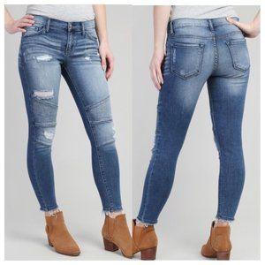 KanCan   Distressed Light Wash Moto Jeans
